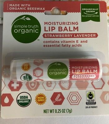 Simple Truth Organic Moisturizing Lip Balm Strawberry Lavender 0.25 oz