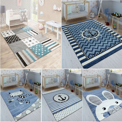 Kids Nursery Rug Blue Bedroom Mat Carpet Childrens Baby Playroom Rugs Playmats