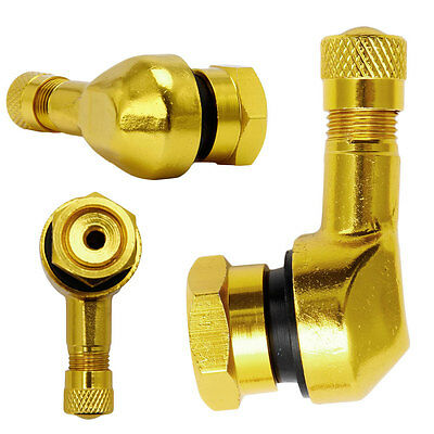 2x 90 Degree Angle CNC Motorcycle Motorbike Tyre Valve Stems Wheel Aluminum Gold