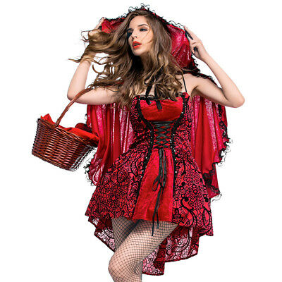 Halloween Little Red Riding Hood Dress Adult Gothic Party Fancy Dresses Costume