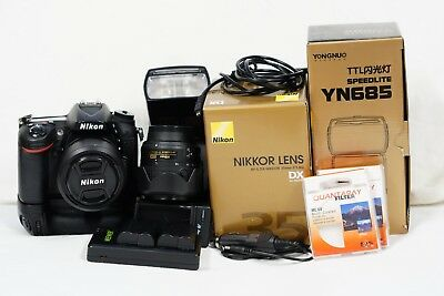 Nikon D7200 24.2Mp Dx-Format Cmos Sensor Digital Slr Kit 2 Lenses 18-55 35 Flash