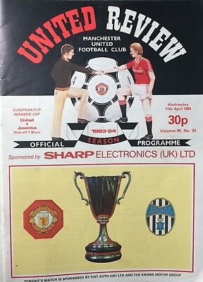 Manchester United v Juventus European Cup Winners Cup 11th April 1984 Programme