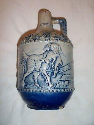 Vintage Glaze Stoneware HUNTING Scene W / DOG & RABBIT Blue