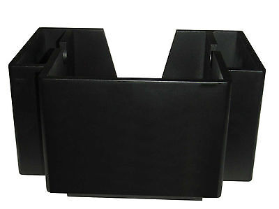 NEW Wooden Classic Black 2 Pocket Napkin Bar Caddy Straw Holder