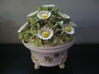 """1950s Antique Vtg Capodimonte Style Tureen Flower Daisies Signed PAUL ITALY 10"""""""