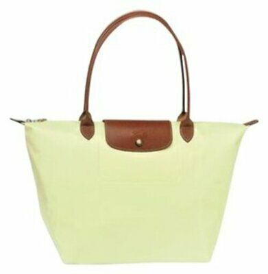 New Limited  Yellowish Green Longchamp Le Pliage Large Nylon Shoulder Tote c7ef527b52ac0