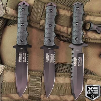 Black TACTICAL Combat MILITARY Survival BOWIE Fixed Blade Knives FULL TANG Knife