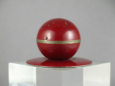 Vintage Art Deco Atomic Age Space Age Red Painted Chrome Inkwell