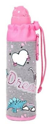 Justice Girls Dream Dinosaur Grey Pink Sleeved 16 oz Water Bottle Built-in-Straw