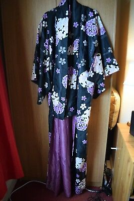 Women's Japanese Black Purple Floral Kimono Size Large BNWOT