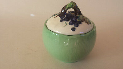 Lovely unusual blue Art Deco Maling lustreTemple ginger jar with Asters.