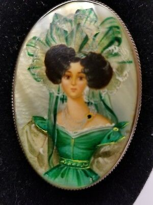 Vintage Antique Handpainted Woman Portrait Mother of Pearl Large Brooch Pin