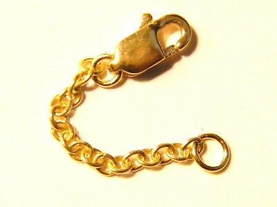 """9ct Yellow Gold Heavy 1"""" Safety Extension Chain for Necklace Extender w/Lobster"""