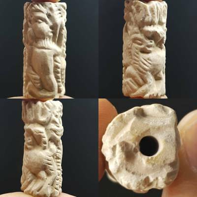 Very Old beautiful Hunter & Animal Carved Stone Rare BEAD  # 4D