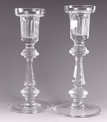 """WATERFORD Crystal - Pair of Cut Glass Candlestick / Candlesticks - 8"""""""