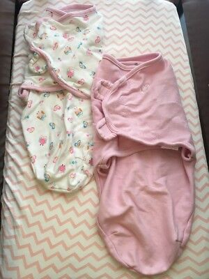 Swaddle Me Small/Medium Baby Swaddle Sacks Pink & Butterfly/Owl Print