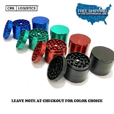 4 Piece Magnetic 2 Inch Blue Tobacco Herb Grinder Spice Aluminum With Scoop