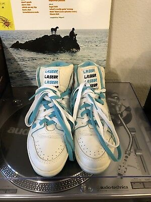 VINTAGE LA GEAR WHITE & Turquoise HIGH TOP SNEAKERS Women's Size 9