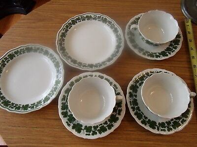 8 pieces German of green vine pattern Meissen china cups and saucers + plates NR