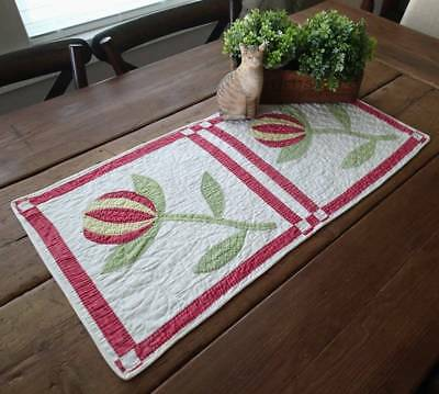 Antique 19th c Applique Red & Green Pomegranate Table Quilt Runner 30x15
