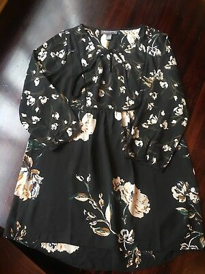 maternity a pea in the pod tunic top size small flowers black