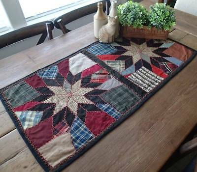 Primitive Dark Star Crazy QUILT Farmhouse Victorian Table RUNNER 38x19 Christmas