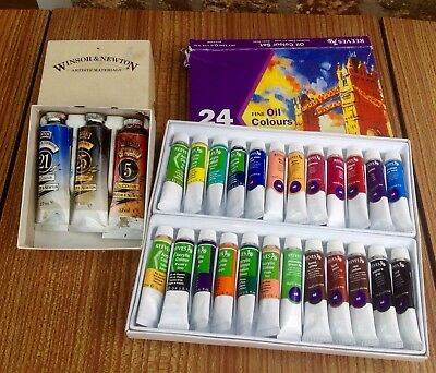 Job Lot Of Paint Tubes Most Oil Paints Windsor Newton Reeves
