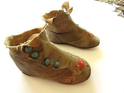 Antique Original Children's High Top Shoes Leather~Embroider Glass Bead Buttons
