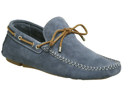 Mens Ask the Missus Blue Suede Slip On Casual Shoes Size UK 9 * Ex Display