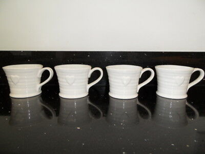 Sophie Conran Embossed Heart Mugs X 4  Brand New With Tags