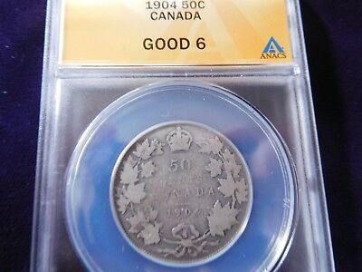 Canada 1904 Fifty Cent ANACS G6 - Low mintage date