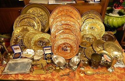 Large Job Lot of Antique Vintage Brass Copper Silver Plate Other Metals 12kg