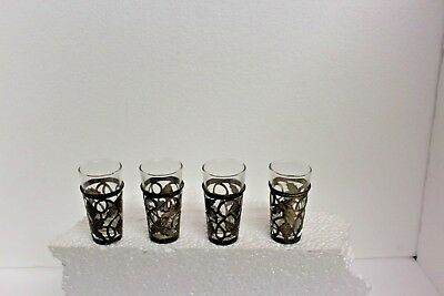 Sterling Silver  (4) MEXICO Cordial Shot Glasses with Sleeves