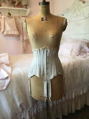 Rare Antique Victorian Period Lace Up Corset With Garters. Warner'S Debutante
