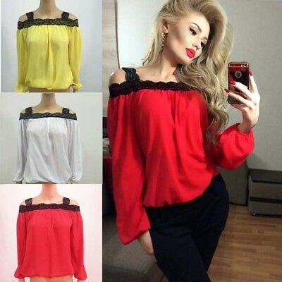 Women Off-Shoulder Lace Blouse Tops Tee Sexy Plain Loose T-Shirt Long Sleeve