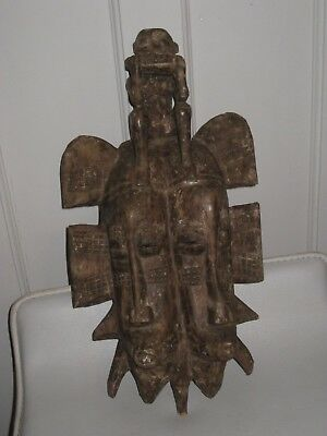 African Tribal Art Double Face Mask with Figure on Top