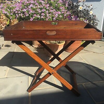 Victorian Mahogany Butler's Tray & Original Stand (webbing replaced)