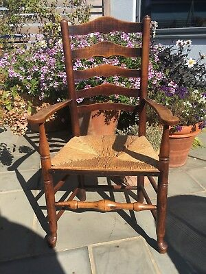 Antique Elm Ladder-back Arm Country Chair with Rush Seat