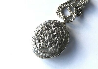Antique Victorian Large Ornate Silver Picture Locket Chain Necklace