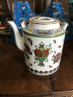 Vintage Chinese Teapot With Bamboo Handle