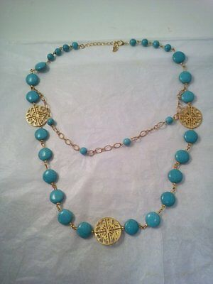 Aztec-Style Gold & Teal Double-Stranded Necklace - Gold Medallions & Teal Beads