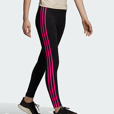 Adidas Originals 3 stripes leggings black pink running gym UK 10 Womens new