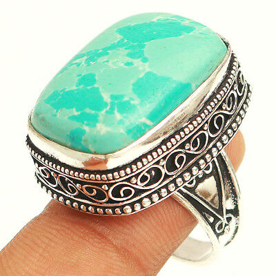 Larimar Vintage 925 Sterling Silver Jewelry Ring 10''