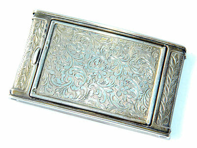 Art Nouveau Etched Silver COMPACT Spring-loaded Powder Box Slim Silver Case