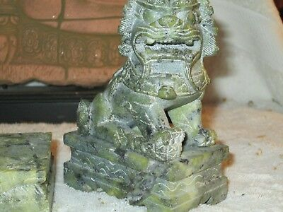 Authentic Marble Feng Sheu Green Fade Beast Dog Guardian Hand Carved Marble