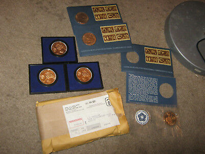1972 Lot of Six Bicentennial Commemorative Medals Three In Commemorative Cases