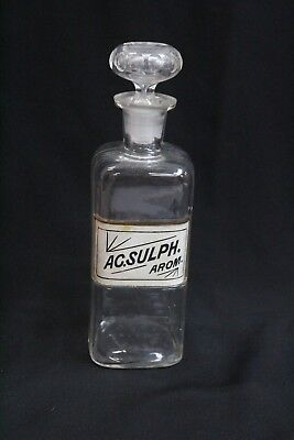 Antique Apothecary Bottle WT & Co 1889 AC Sulph Arom. Clear Glass