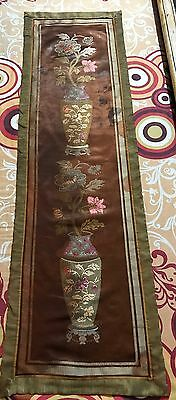 """Antique Chinese Brocade Silk Woven  Panel Wall Hanging 15"""" By 51"""""""