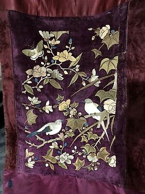 """Antique Chinese Hand Embroidery And Painting Long Scenery Wall Hanging 25""""X103"""""""