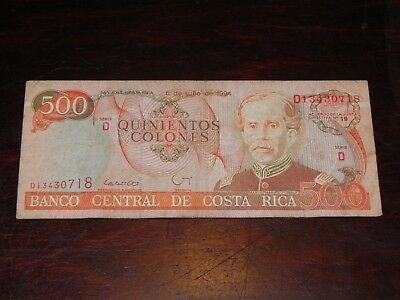 Costa Rica 500 Colones Banknote 1994 P-262 Circulated JCcug 18769